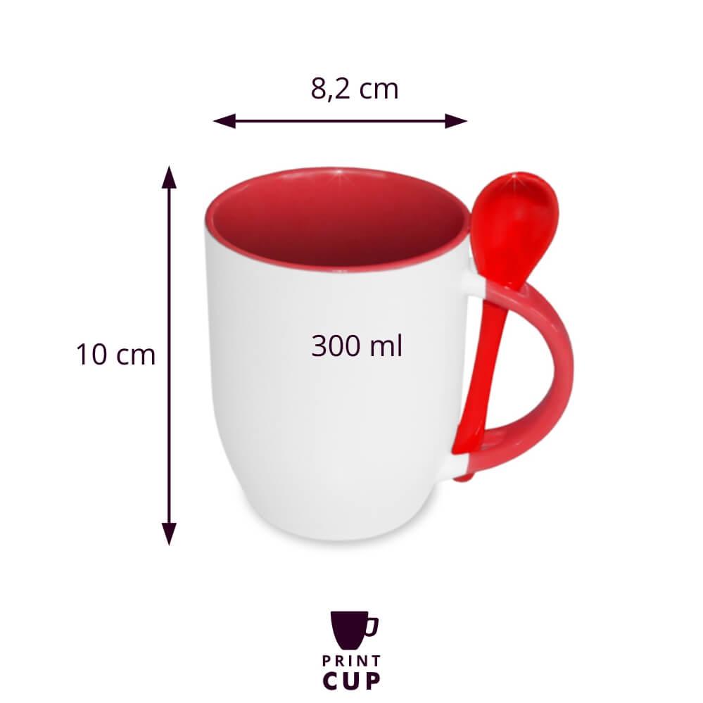 Kubek ceramiczny z łyżęczką KZL13128S-W
