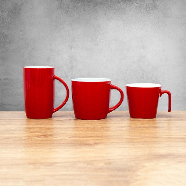 kubki reklamowe czerwone z logo firmy